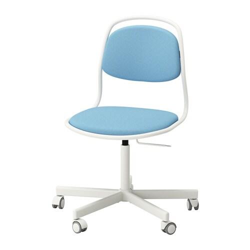 ÖRFJÄLL / SPORREN Swivel chair, white, Vissle light blue white/Vissle light blue -