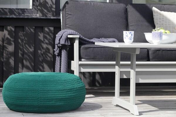 "OTTERÖN / INNERSKÄR Pouffe, in/outdoor, dark green, 22 7/8 """