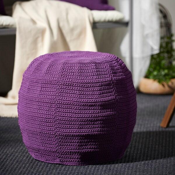 "OTTERÖN / INNERSKÄR Pouffe, in/outdoor, purple, 18 7/8 """