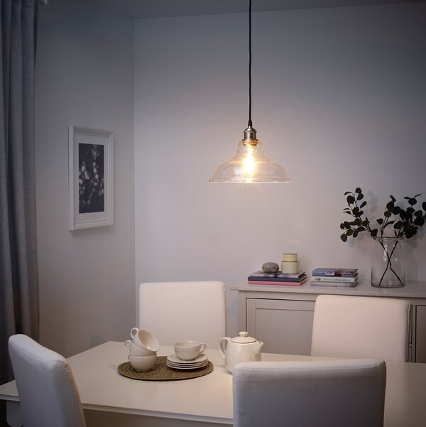 """OVANBY Pendant lamp, clear glass, 12 """""""