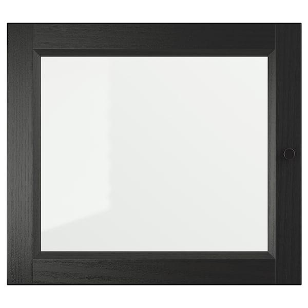 """OXBERG Glass door, black-brown, 15 3/4x13 3/4 """""""