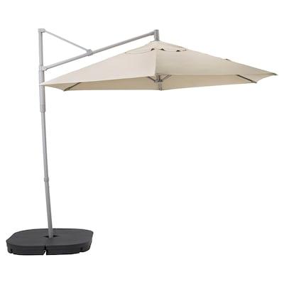 "OXNÖ / LINDÖJA hanging umbrella with base beige/Svartö dark gray 0.66 oz/sq ft 104 3/8 "" 118 1/8 """