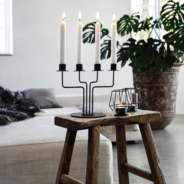 """PÄRLBAND Tealight holder, black, 4 """""""