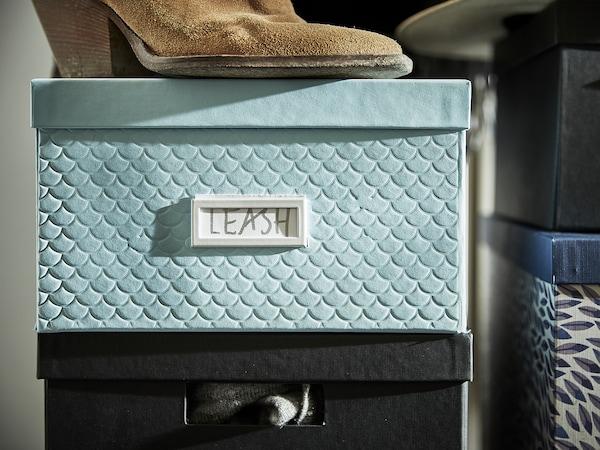 "PALLRA Storage box with lid, light blue, 9 ¾x13 ¾x6 """