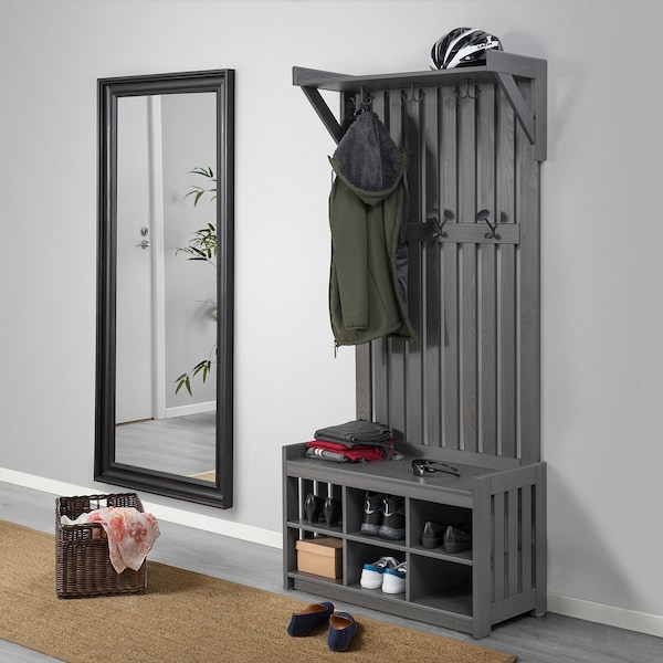 PANGET Coat rack with shoe storage bench, dark gray/stained, 331