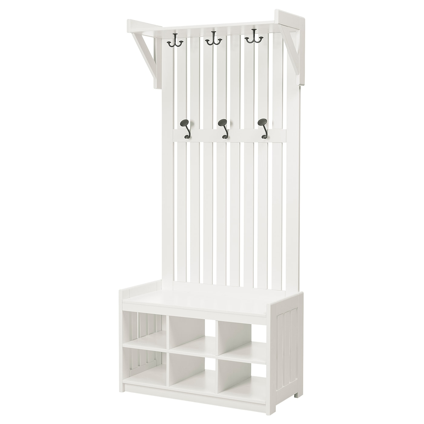 PANGET Coat rack with shoe storage bench, white, 331/2x161/8x783/4