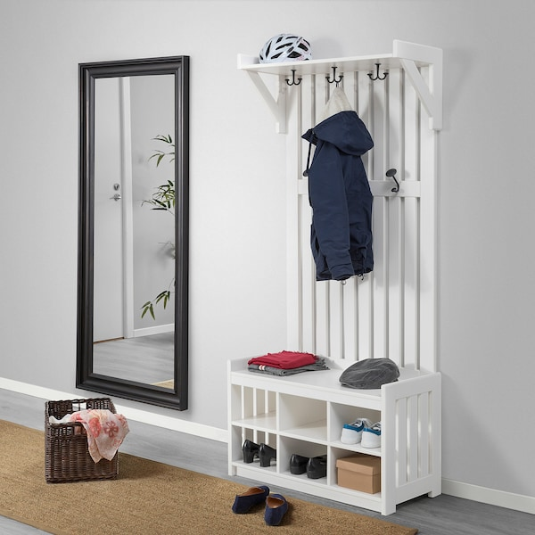 PANGET Coat rack with shoe storage bench, white, 331/2x161/8x783/4