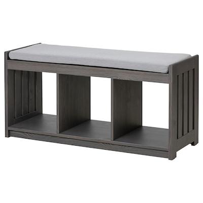 PANGET Storage bench, dark gray/stained
