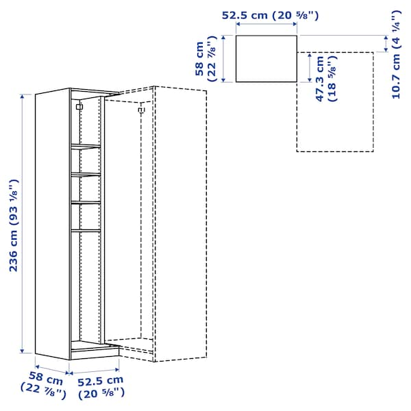 """PAX Add-on corner unit with 4 shelves, white, 20 7/8x22 7/8x92 7/8 """""""