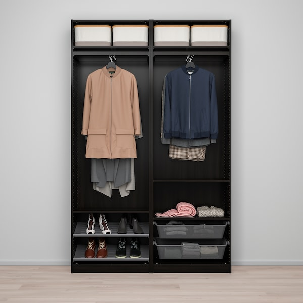"PAX / AULI Wardrobe combination, black-brown/mirror glass, 59x17 3/8x93 1/8 """