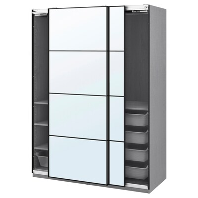 PAX / AULI Wardrobe combination, gray stained ash effect/mirror glass, 59x26x79 1/4 ""