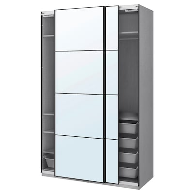 """PAX / AULI Wardrobe combination, gray stained ash effect/mirror glass, 59x26x93 1/8 """""""