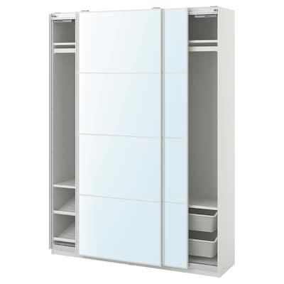 "PAX / AULI Wardrobe combination, white/mirror glass, 59x17 3/8x79 1/4 """