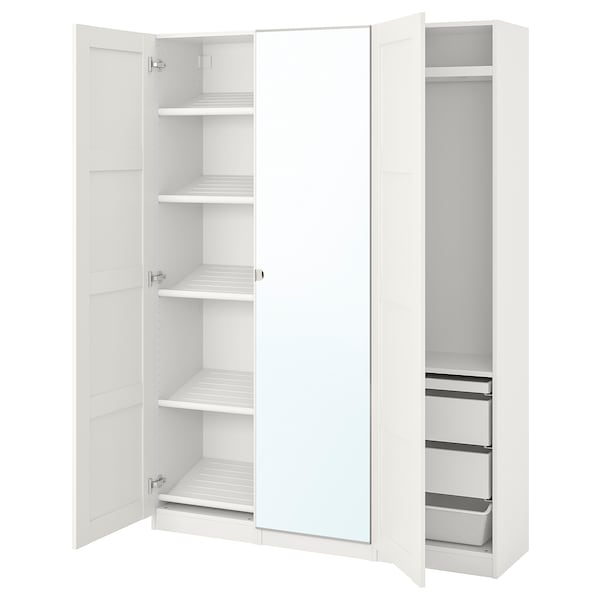 PAX / BERGSBO/VIKEDAL Wardrobe combination, white/mirror glass, 59x15x79 1/4 ""