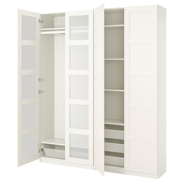 """PAX / BERGSBO Wardrobe combination, white/frosted glass, 78 3/4x15x93 1/8 """""""