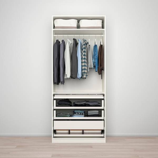 """PAX / BERGSBO Wardrobe combination, white/frosted glass, 39 3/8x23 5/8x93 1/8 """""""