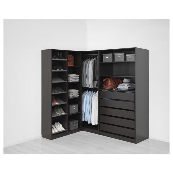 "PAX Corner wardrobe, black-brown, 63 1/8/73 7/8x79 1/4 """