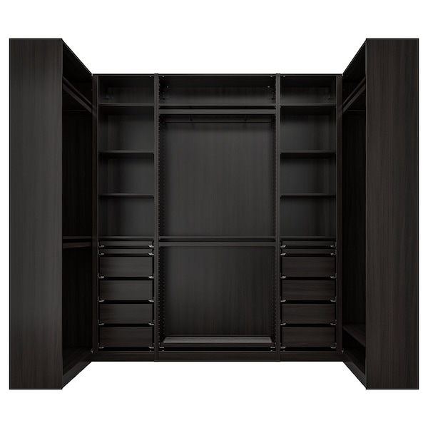 "PAX Corner wardrobe, black-brown, 44 1/2/108 5/8/44 1/2x93 1/8 """
