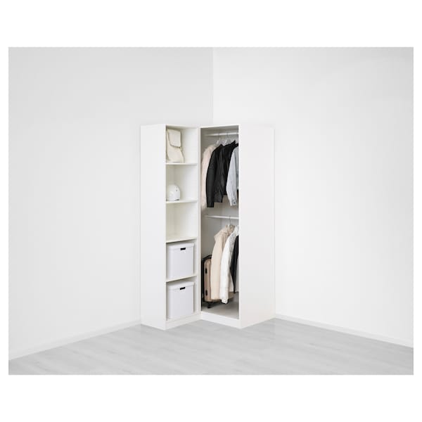 "PAX Corner wardrobe, white/Fardal Vikedal, 43 1/2/34 5/8x79 1/8 """