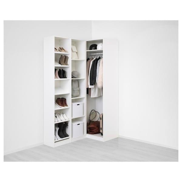 """PAX Corner wardrobe, white/Flisberget light beige, 63 1/8/34 5/8x93 1/8 """""""