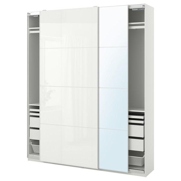 "PAX / FÄRVIK/AULI Wardrobe combination, white/white glass mirror glass, 78 3/4x17 3/8x93 1/8 """
