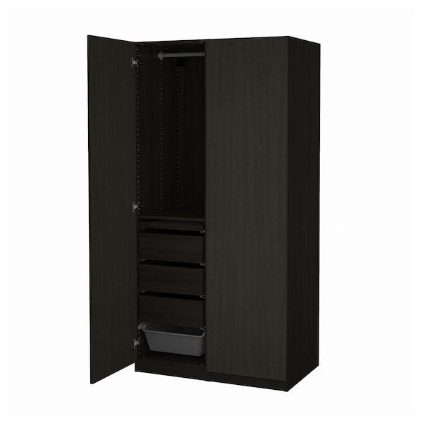 """PAX / FORSAND Wardrobe combination, black-brown stained ash effect, 39 3/8x23 5/8x79 1/4 """""""