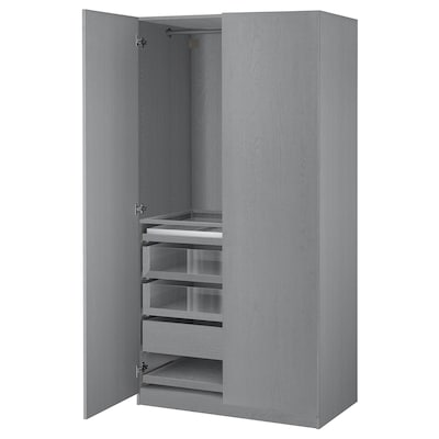 PAX / FORSAND Wardrobe combination, gray stained ash effect, 39 3/8x23 5/8x79 1/4 ""