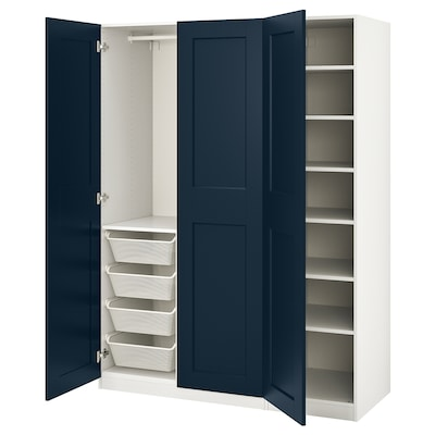 PAX / GRIMO Wardrobe combination, white/Grimo dark blue, 59x23 5/8x79 1/4 ""