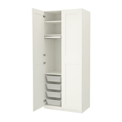 PAX / GRIMO Wardrobe combination, white/white, 39 3/8x23 5/8x93 1/8 ""