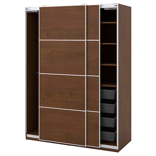 """PAX / MEHAMN wardrobe combination brown stained ash effect 59 """" 26 """" 79 1/4 """""""