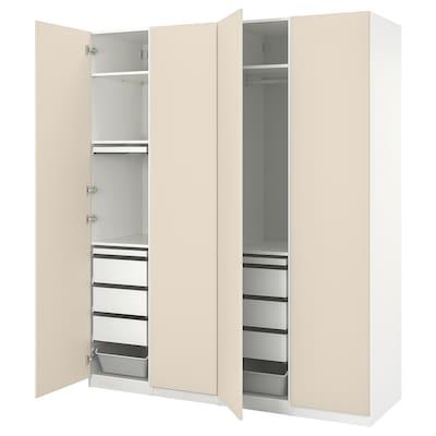 "PAX / REINSVOLL Wardrobe combination, white/gray-beige, 78 3/4x23 5/8x93 1/8 """