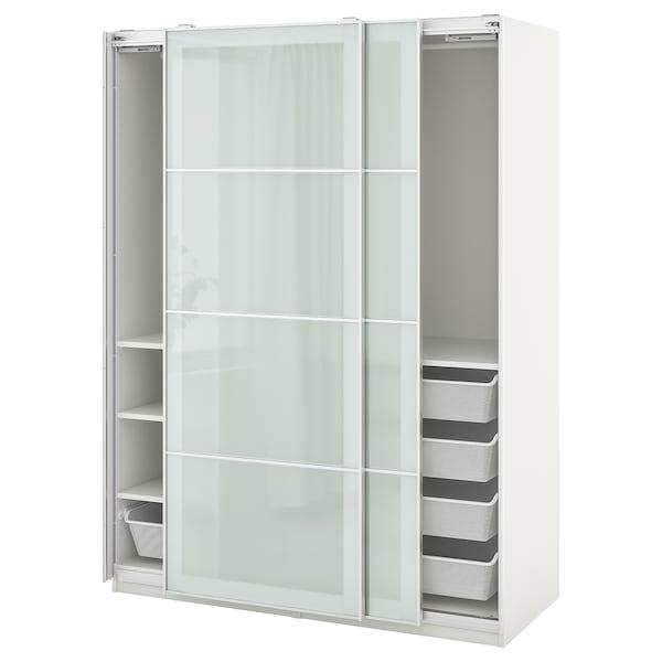 "PAX / SEKKEN Wardrobe combination, white/frosted glass, 59x26x79 1/4 """