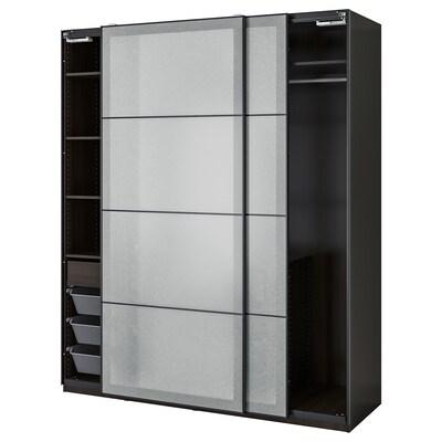 "PAX / SVARTISDAL Wardrobe combination, black-brown/white paper effect, 78 3/4x26x93 1/8 """
