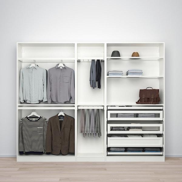 "PAX / TYSSEDAL Wardrobe combination, white/glass, 98 3/8x15x79 1/4 """
