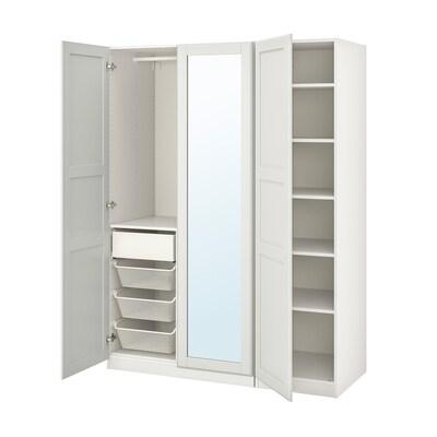 "PAX / TYSSEDAL wardrobe combination white/mirror glass 59 "" 23 5/8 "" 79 1/4 """