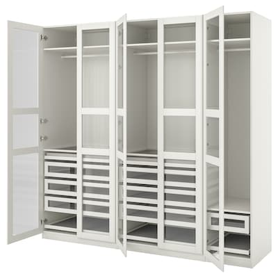 """PAX / TYSSEDAL Wardrobe combination, white/white glass, 98 3/8x23 5/8x93 1/8 """""""