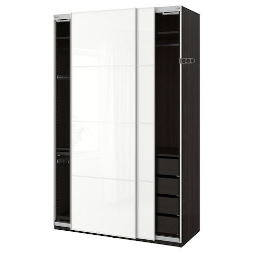 """PAX wardrobe black-brown/Färvik white glass 59 """" 26 """" 93 1/8 """""""
