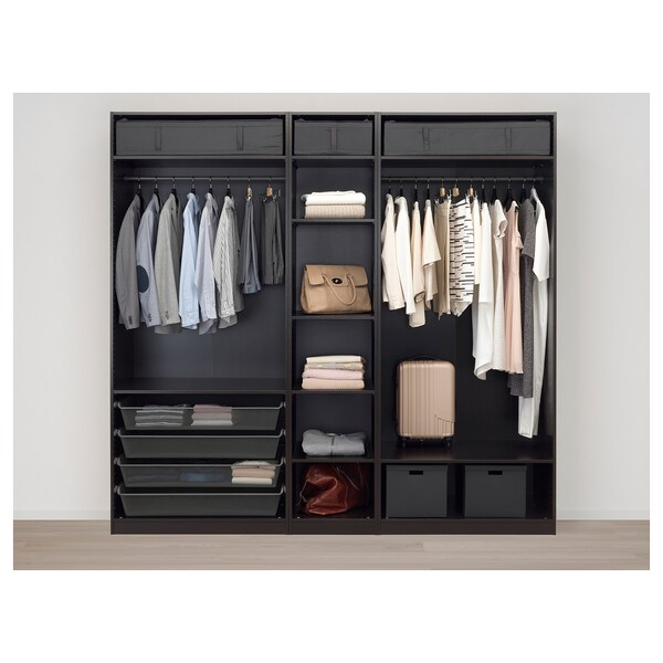"""PAX Wardrobe, black-brown/Forsand black-brown stained ash effect, 98 3/8x23 5/8x93 1/8 """""""