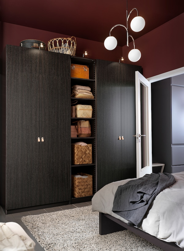PAX Wardrobe, black-brown/Forsand black-brown stained ash effect, 98 3/8x23 5/8x79 1/4 ""