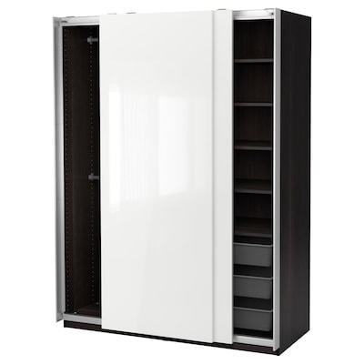 PAX Wardrobe, black-brown/Hasvik high-gloss/white, 59x26x79 1/4 ""