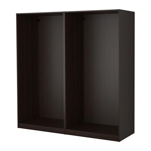pax 2 wardrobe frames black brown ikea. Black Bedroom Furniture Sets. Home Design Ideas