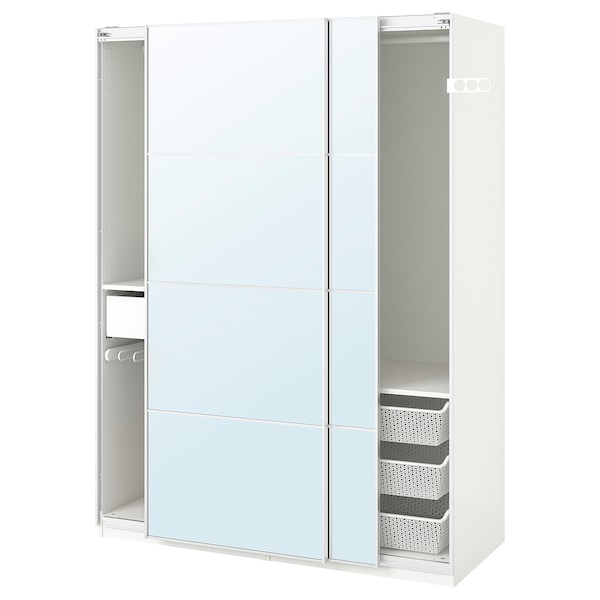 "PAX wardrobe white/Auli mirror glass 59 "" 26 "" 79 1/4 """