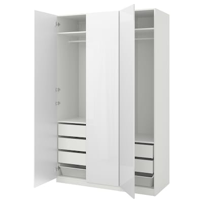 PAX Wardrobe, white/Fardal high-gloss/white, 59x23 5/8x93 1/8 ""