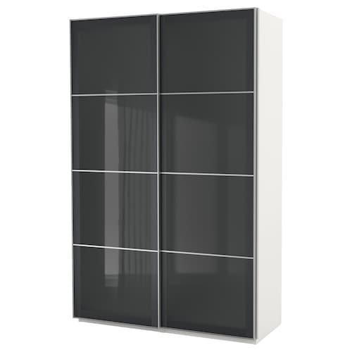 "PAX wardrobe white/Uggdal gray glass 59 "" 26 "" 93 1/8 """