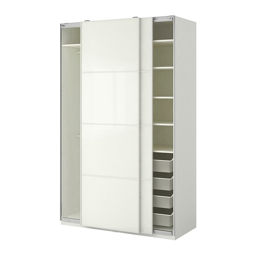 PAX Wardrobe, white, Färvik white glass 59x26x93 1/8