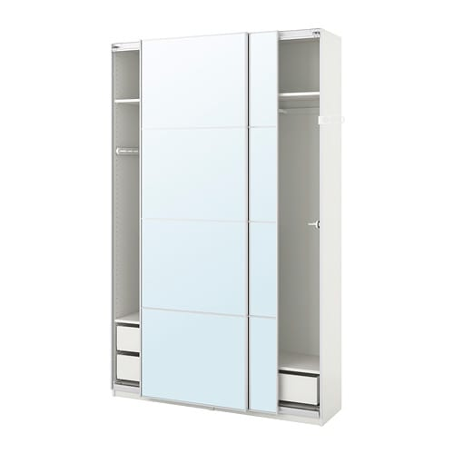 Guardaroba Pax Ballstad Ikea.Pax Wardrobe White Auli Mirror Glass