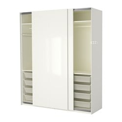PAX wardrobe, white, Hasvik high-gloss/white