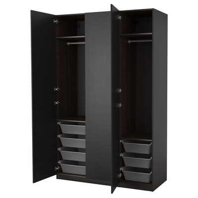 """PAX wardrobe black-brown/Forsand black-brown stained ash effect 59 """" 23 5/8 """" 93 1/8 """""""