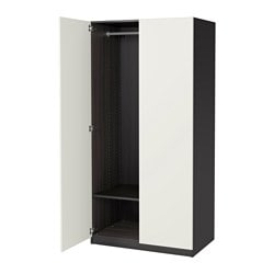 PAX wardrobe, black-brown, Ballstad white