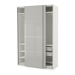 PAX wardrobe, white Hokksund, high gloss light gray